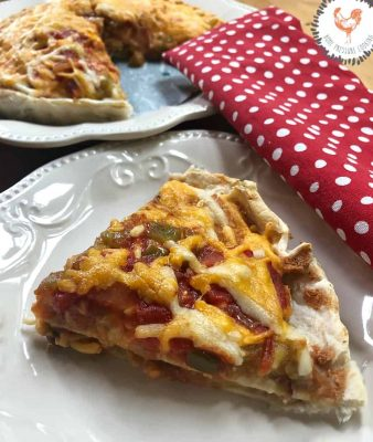 Double decker mexican pizza using a tart pan
