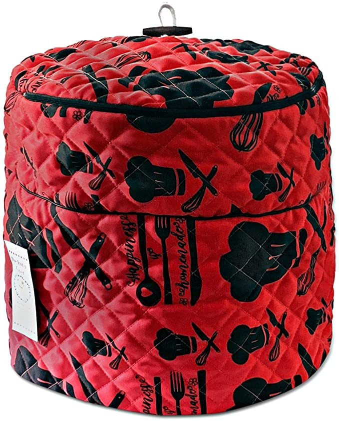 A red and black quilted pressure cooker cover made to protect your devices from dust and damage.