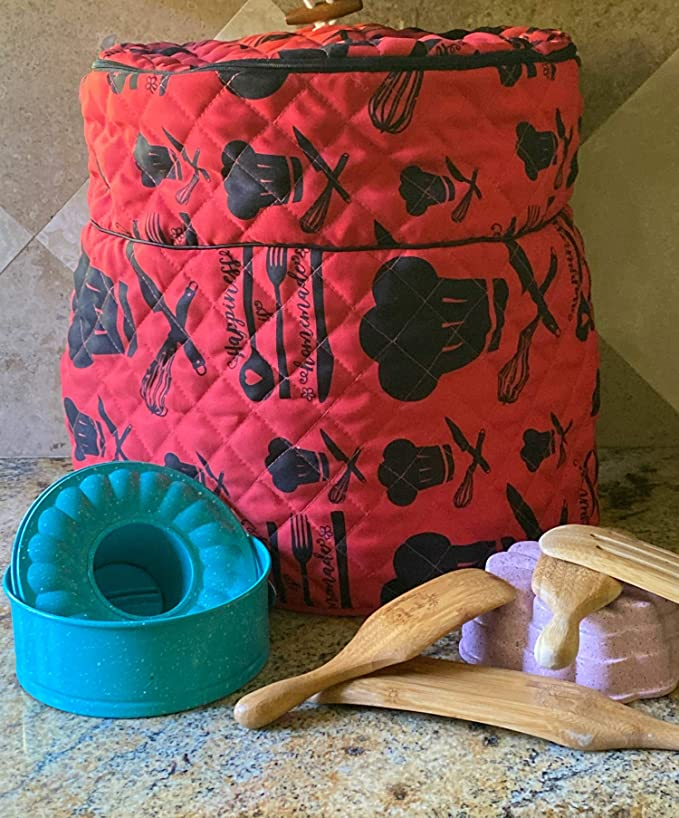 A quilted red and black pressure cooker cover designed to protect your devices from dirt and damage.