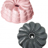 The insta-flower bundlette pan in two different colors - pink and silver.