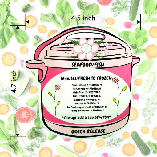 A graphic showing the measurements of the Home Pressure Cooking Pressure Cooker magnets. The measurements are 4.5 inches wide by 4.7 inches high.