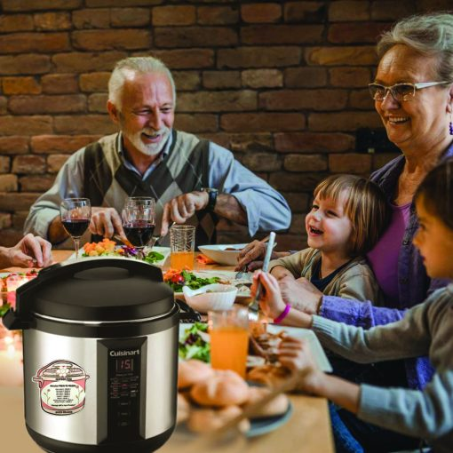 A family enjoying a meal with their pressure cooker featuring a magnet with cooking times