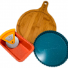 The insta-bakers bundle including a tart pan, loaf pan, charcuterie board, and pizza cutter.