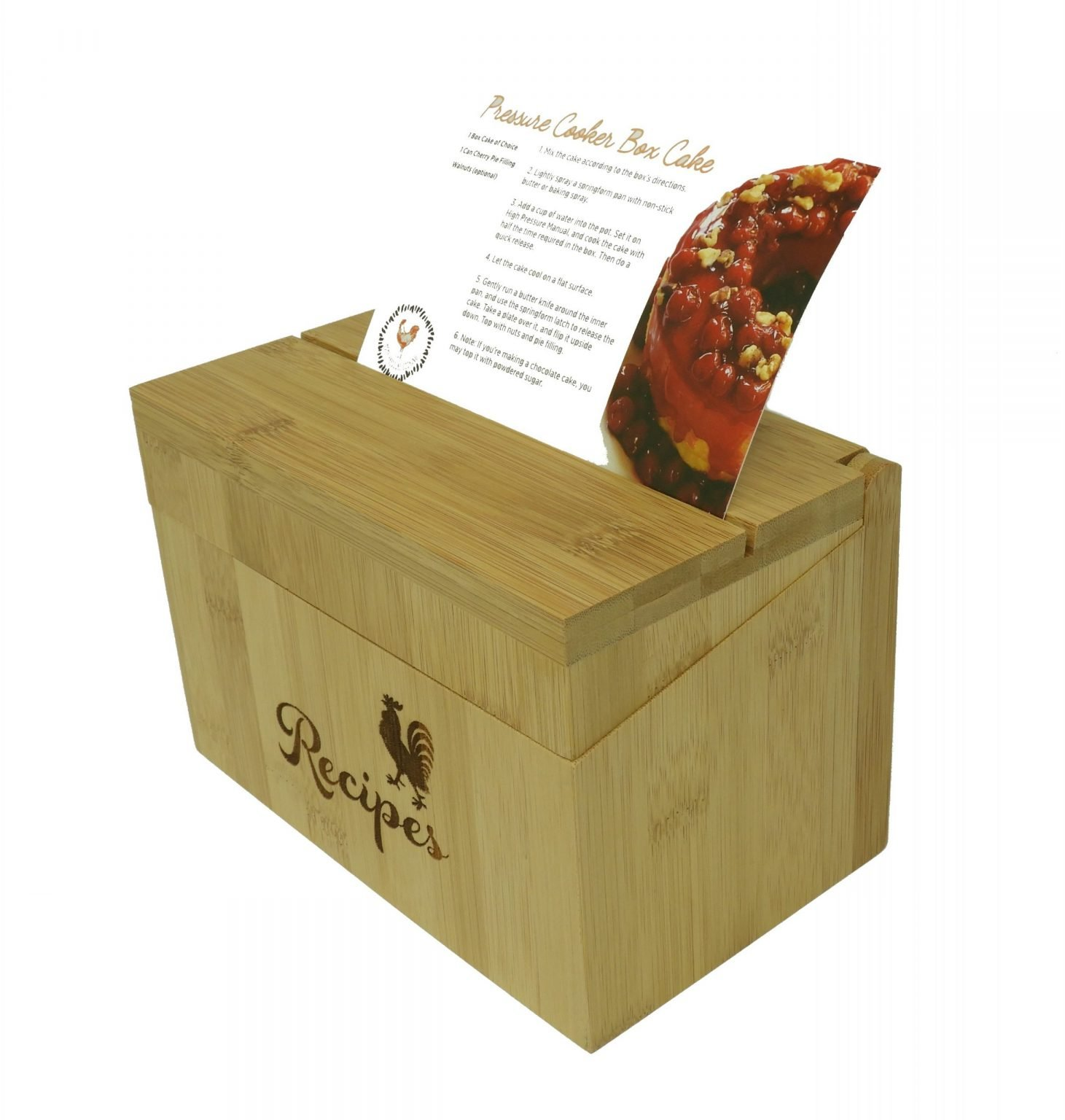 The insta-recipe box with a recipe card resting in the slot on the lid.