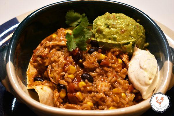 Burrito in a Bowl with Guacamole and Cumin Lime Cream