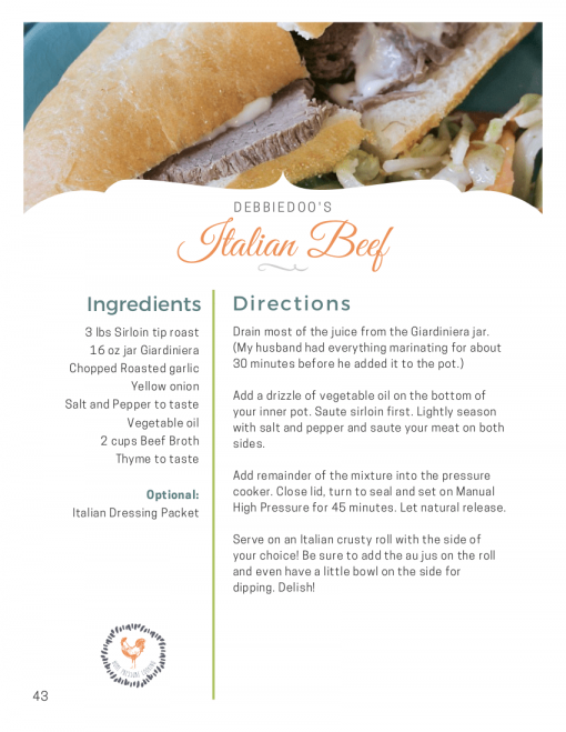 A recipe for Italian Beef made in a Pressure Cooker.