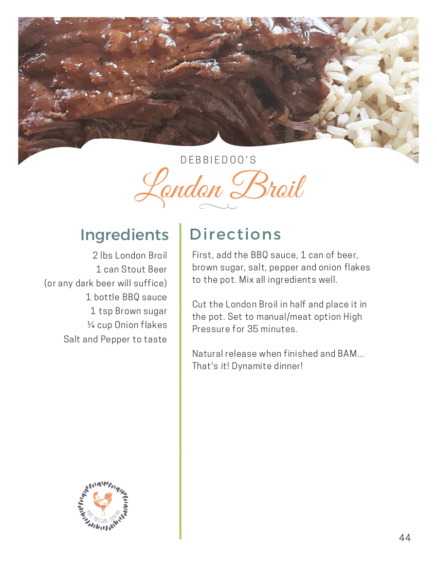 A recipe for London Broil made in a pressure cooker.