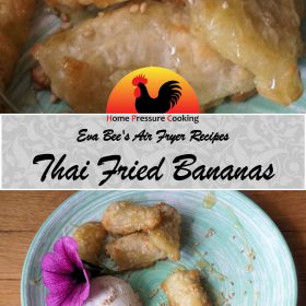 """A recipe card graphic that displays two images of freshly made thai style air fried bananas. The images are separated by a banner that reads """"Eva Bee's Air Fryer Recipes Thai Fried Bananas""""."""