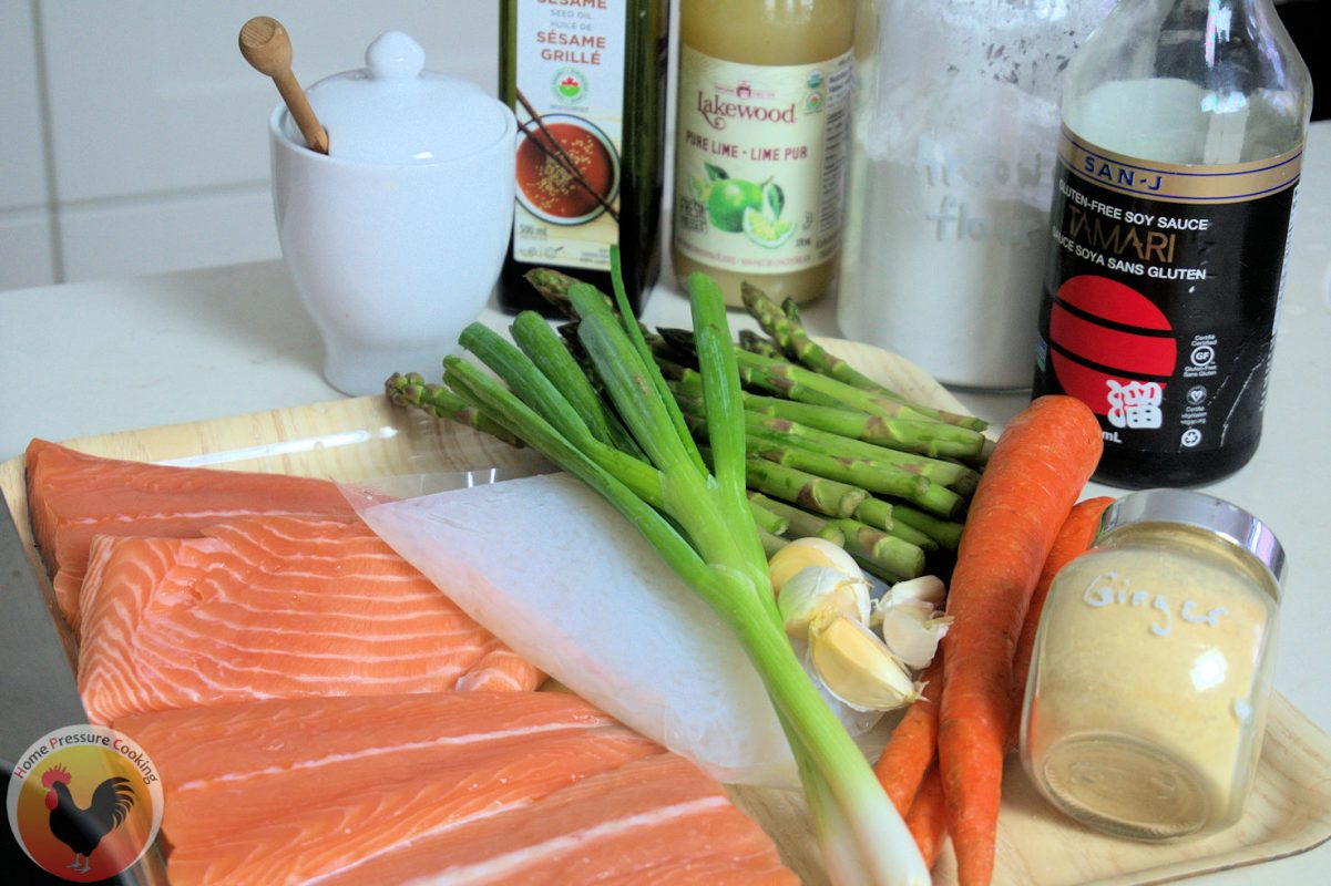 the ingredients for making keto salmon steaks with teriyaki noodles