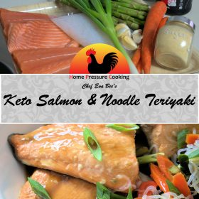 a photo for use on pinterest of salmon and noodle teriyaki