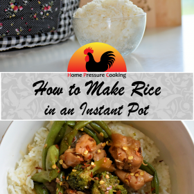 a graphic for pinterest showing how to make rice in the instant pot