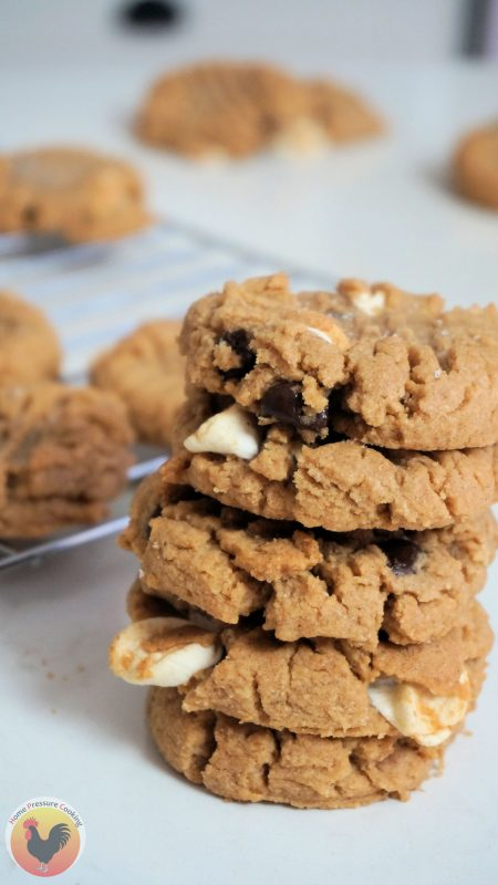 a delicious stack of flourless peanut butter smores cookies