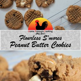 a photo used for pinterest that shows the title of this recipe, flourless peanut butter cookies and the finished product photo across the top with a close up of the stacked cookies at the bottom