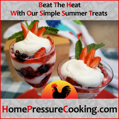 """A promotional image that shows a pair of Summer Berry Fools served in wine glasses with the tagline """"Beat the heat with our simple summer treats."""""""