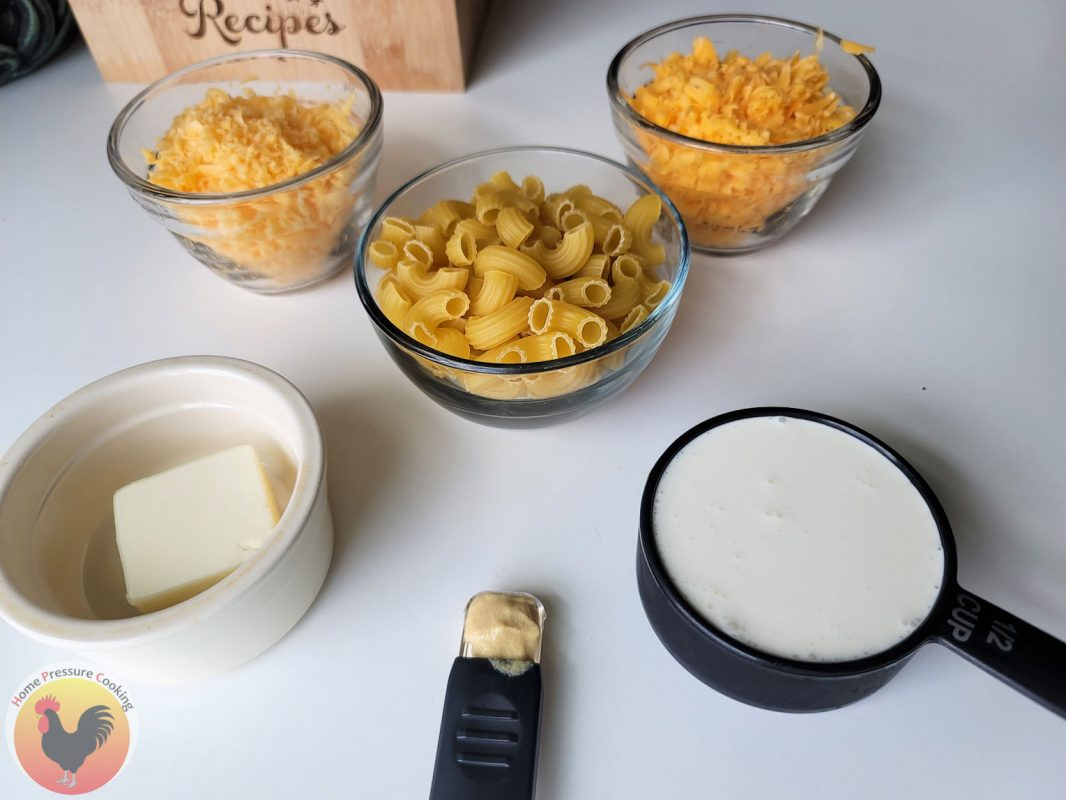 mac and cheese Ingredients on the table