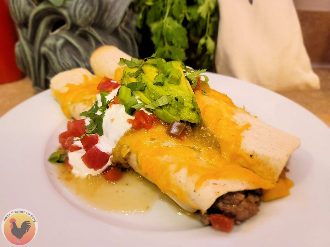 close up of beef enchiladas on a white plate with green in the background