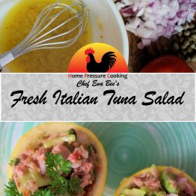 a photo made for pinterest with the dressing photo at the top and the plated Italian tuna salad on the bottom