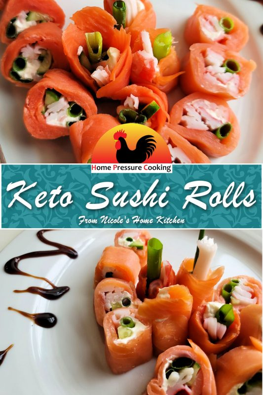 two photos in a composition image for use on pinterest to feature our keto sushi recipe
