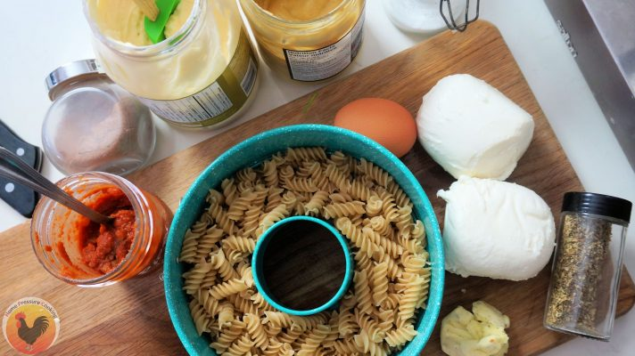a photo of the ingredients for pasta bake casserole