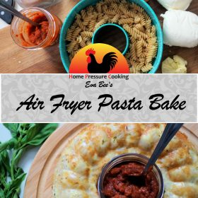 pinterest card showing the ingredients for pasta bake. The bottom of the photo shows the finished product.