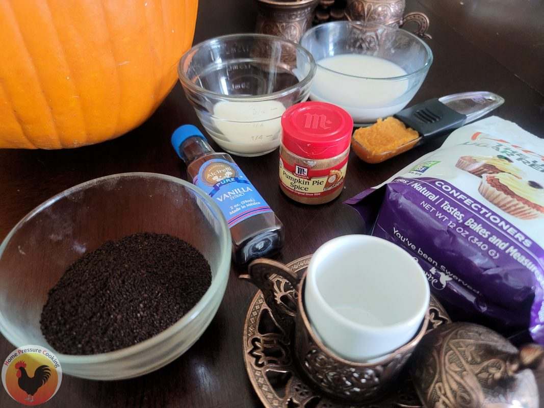 photograph of the ingredients for pumpkin spice lattes.