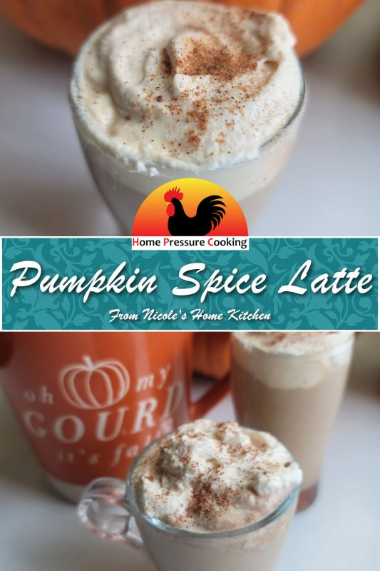 pinterest card for pumpkin spice lattes the top of the image is a close up of the top of the beverage with whipped cream and pumpkin pie spices.